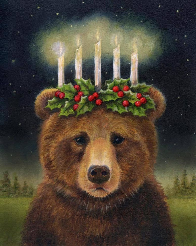 Bear Print Bear Portrait Bear Art Christmas Bear Saint image 0