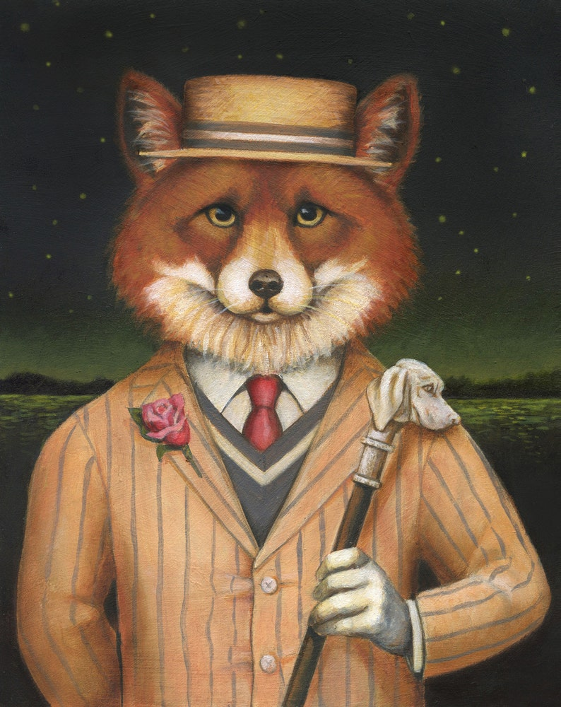 Fox Dandy Print  Jazz Age Fox Portrait  Fox Art Great image 0