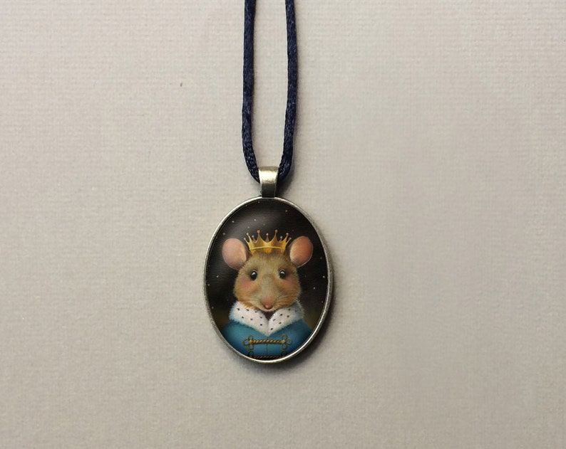 Mouse King Christmas Necklace Oval Animal Pendant Victorian image 0
