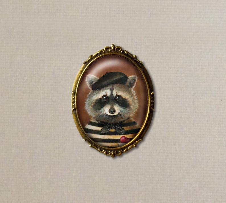 Raccoon Brooch Raccoon Pin Valentine's Day Romantic image 0