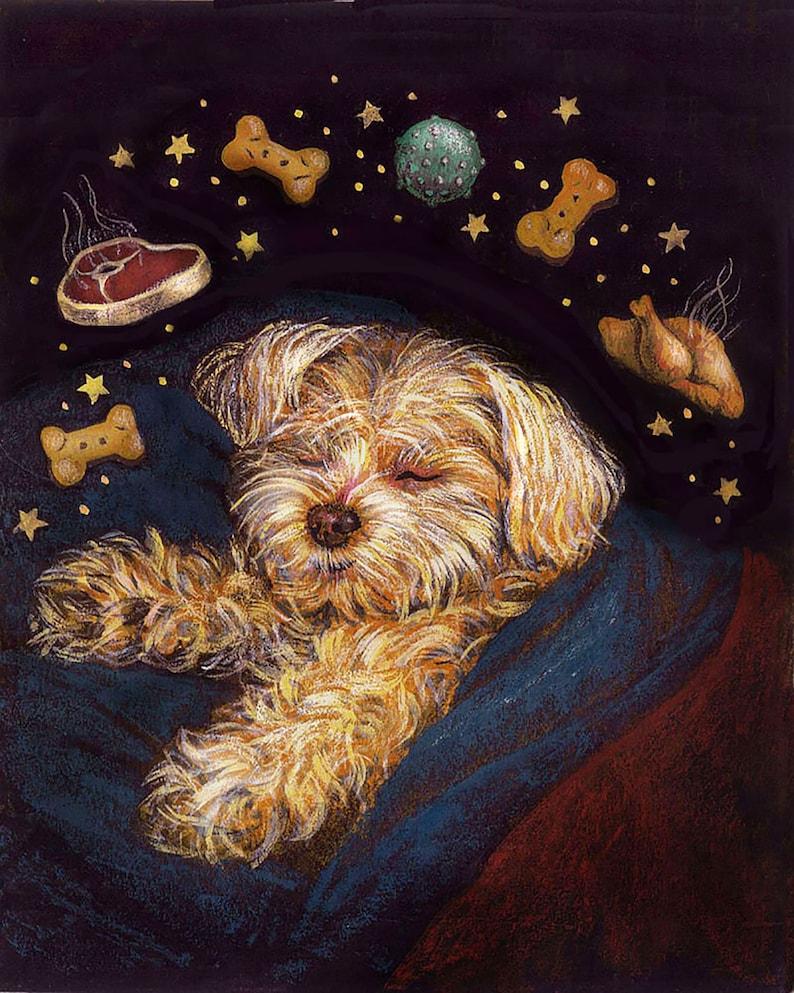 Dog Dreams Print Christmas Print Dog Portrait Dog Art image 0