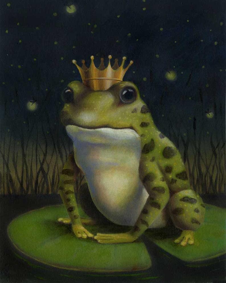 Frog Print Frog Prince Print Frog Portrait Toad Art Frog image 0