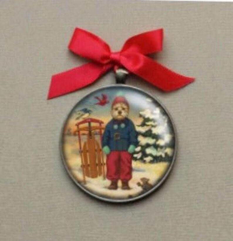 Dreaming Dog Ornament  Portrait Miniature  Christmas image 0