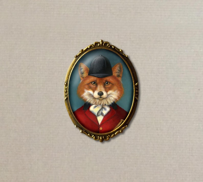 Gentleman Fox Brooch Fox Hunt Brooch  Fox Portrait Pin image 0