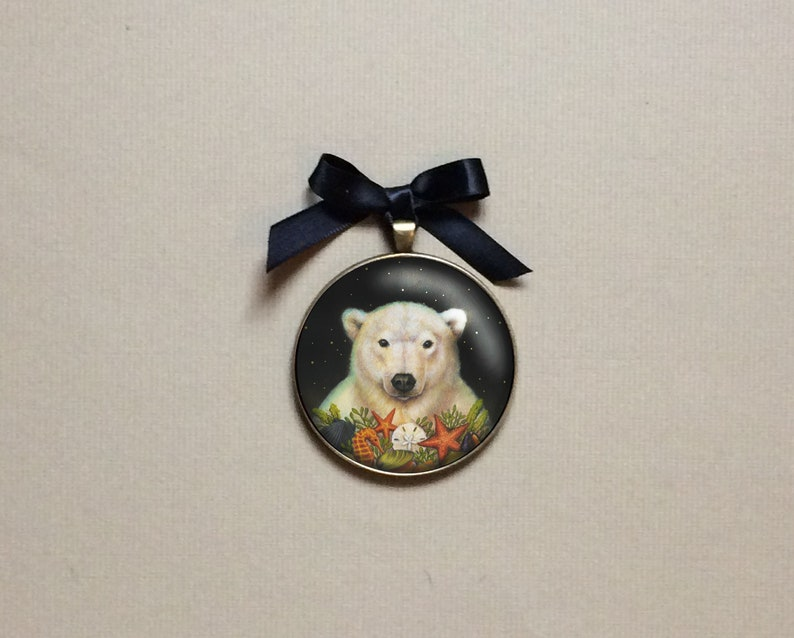 Polar Bear Ornament Portrait Miniature Gallery Wall Art image 0