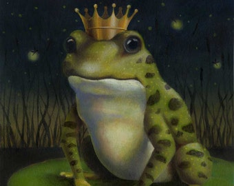 Frog Print, Frog Prince Print, Frog Portrait, Toad Art, Frog Art, Animal Portrait, Kiss the Frog, Prince Charming, Lovers Gift, Amphibian
