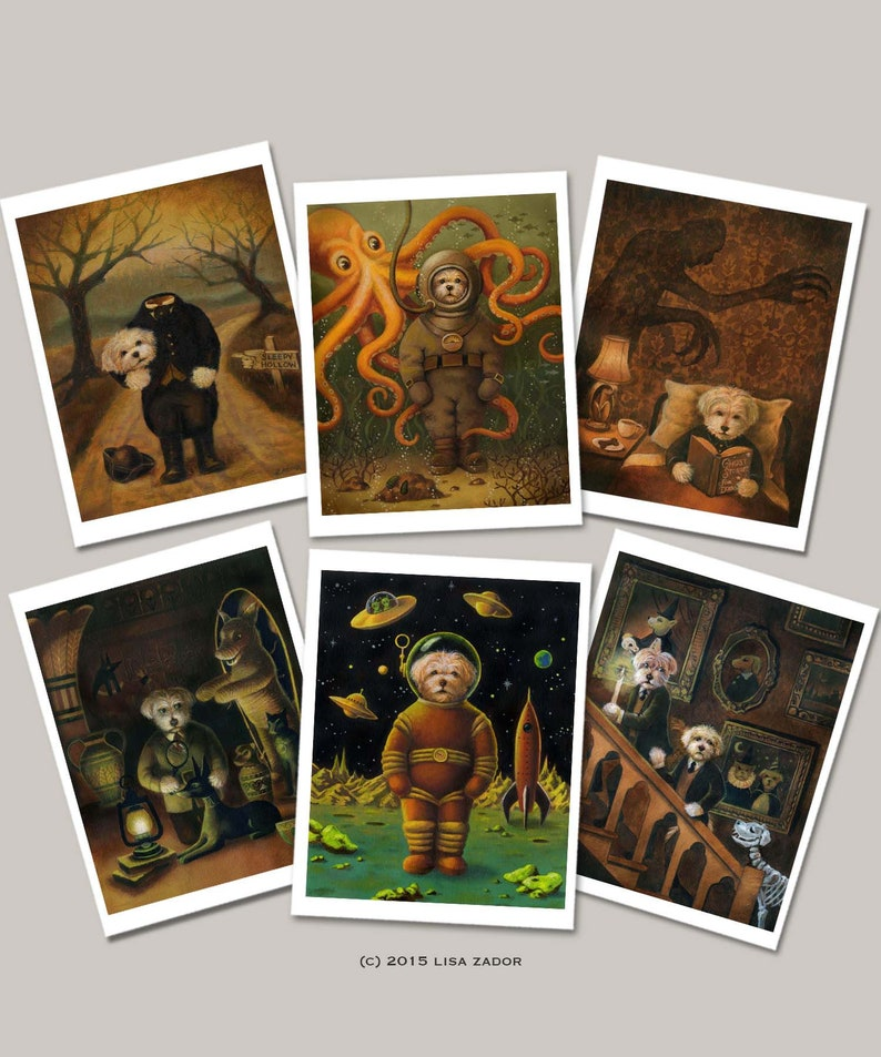 Dog Halloween Cards Card Set  Spooky Dogs Humorous Scary image 0