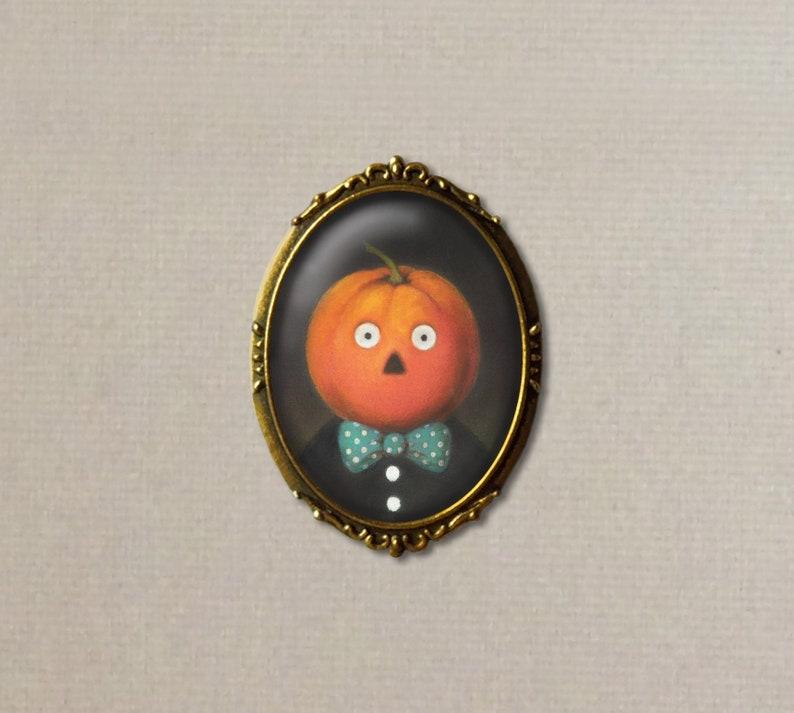 Pumpkin Man Brooch Retro Halloween Pin Pumpkin Brooch Oval image 0