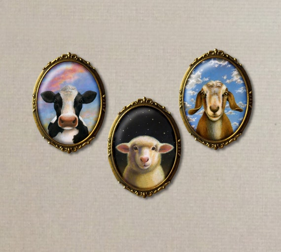 Sheep Brooch, Cow Pin, Goat Brooch , Farm Animal Pin, Barnyard, Country Style, Dairy, Farm Art