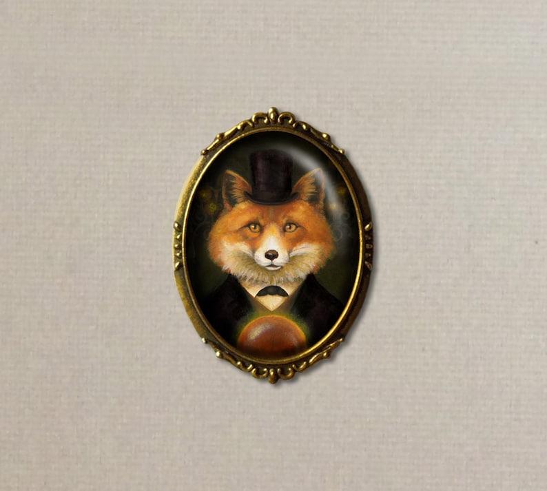 Victorian Fox Brooch Fox Pin Fox Brooch Fox Portrait Oval image 0