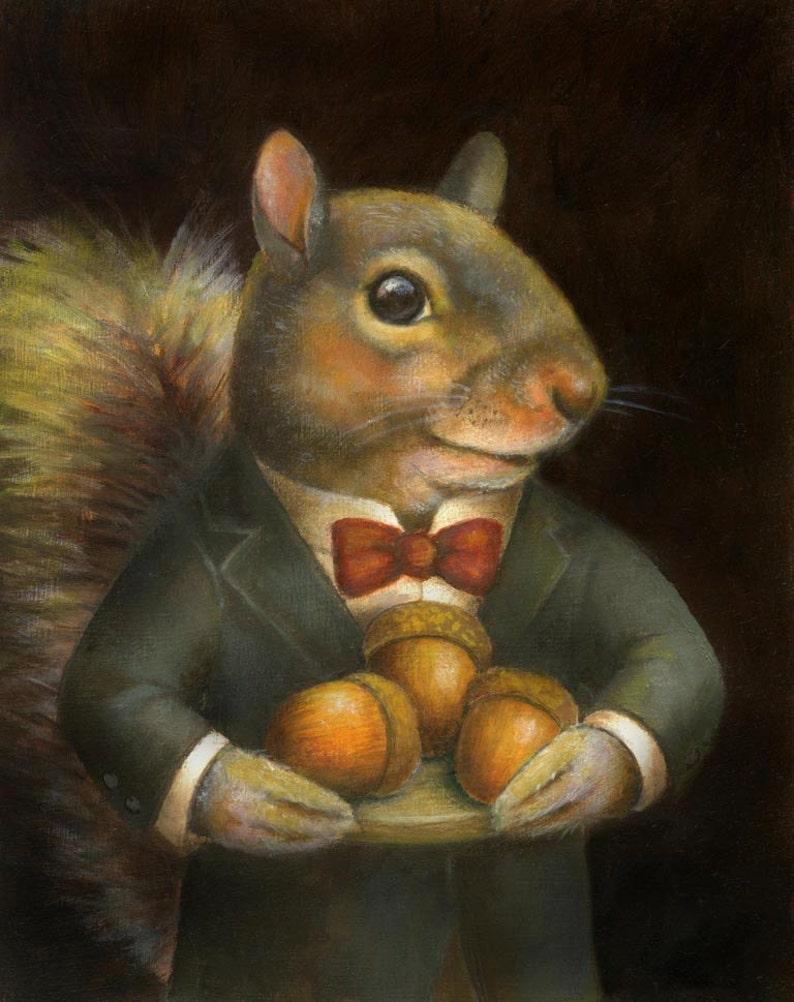 Squirrel Portrait Print Victorian Squirrel  Anthropomorphic image 0
