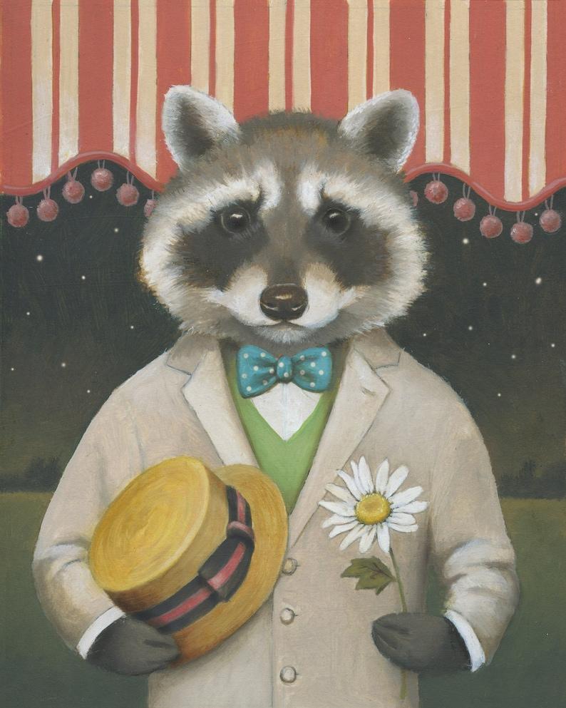 Raccoon Print Raccoon Dandy Valentines Day Animal Portrait image 0