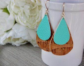 Cork tear drop earrings, Large cork earrings, Cork earrings, lightweight earrings, Large Earrings, for her
