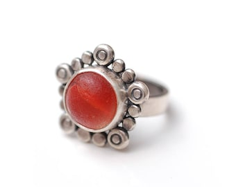 Red Orange Marble English Sea Glass Flower Ring Sterling Silver Can Be Sized
