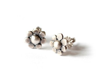 Recycled Sterling Silver Daisy Flower Stud Earrings Brushed Silver