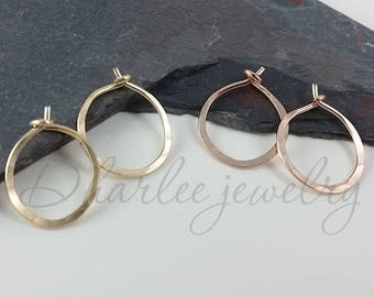 Tiny 14K Yellow Gold Filled or 14K Rose Gold Filled Hoops, Half Inch Hoops, Minimalist Earrings, Classic Earrings