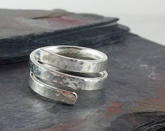 Sterling Silver Thick Triple Cross Over Band Ring, Modern Boho Ring, Hammered Band