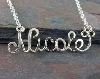 Ready to Ship- Nicole Name Necklace- Premade, Calligraphy Style sterling silver