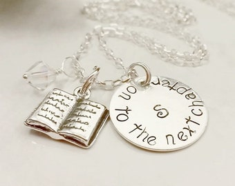 Handstamped Sterling Silver Necklace that says On To The Next Chapter
