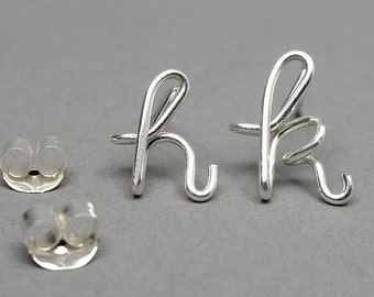 Personalized Lowercase Sterling Silver Initial Post Earrings, initial jewelry, Tiny Studs