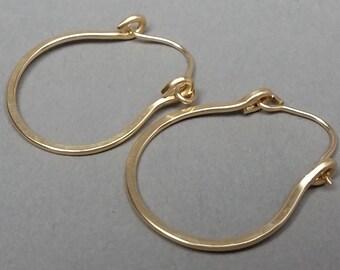 Oval 14K Gold Filled Hammered Hoop Earrings, Hinged Hoops, One Inch Hoop Earrings