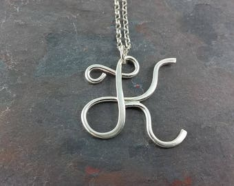 Custom Sterling Silver Initial Necklace, Fancy Script Initial Jewelry, Personalized Jewelry