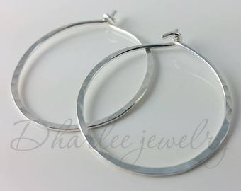 Small Sterling Silver Hoops, 3/4 inch Hoops, Minimalist Earrings, Classic Earrings