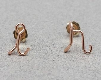 14K Rose Gold Filled Lowercase Initial Stud Earrings