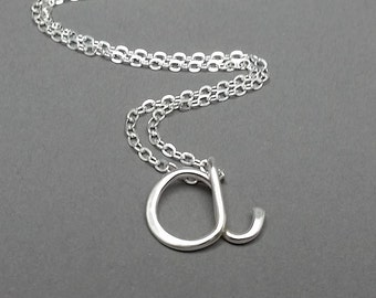 Sterling Silver Lowercase Initial Necklace, Minimalist Jewelry, Personalized