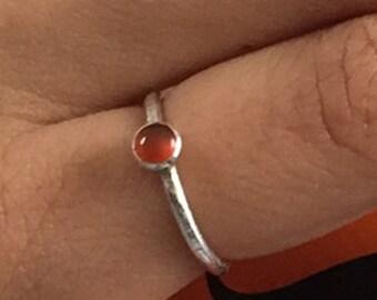 4mm Carnelian Bezel Set Ring, Stacking Ring