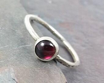 6mm Garnet Ring, Stacking Ring, January Birthstone Ring