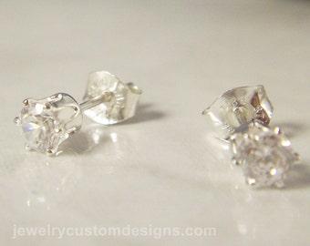 4mm CZ Earrings in Sterling Silver, April Birthstone Studs, Tiny Post Earrings