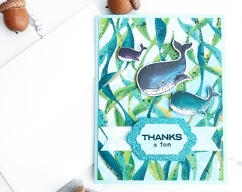 Thank you card. Thanks a ton. Handmade Greeting Card. Funny card. Paper Card. Whale card. Made in Canada. Free Shipping thank you card.