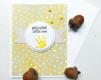 Yellow Baby Shower Card. Gender Neutral Baby. Yellow baby card. Greeting card. White glitter card. Free shipping card. Made in Canada.