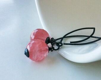 30% OFF SALE! Pink Quartz Earrings. Oxidized Sterling Silver Earrings. Black Jewelry. Pink Earrings. Gemstone Jewelry.