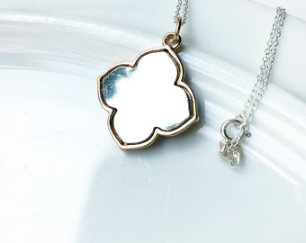 Quatrefoil necklace. Sterling silver necklace. Lucky Clover necklace. Sterling Silver Chain. Made in Canada. Free Shipping. Made in Toronto