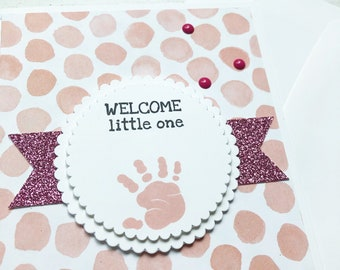 Pink Baby Shower Card. Baby Girl. Pink baby card. Greeting card. Pink glitter card. Free shipping card. Made in Canada. Made in Toronto
