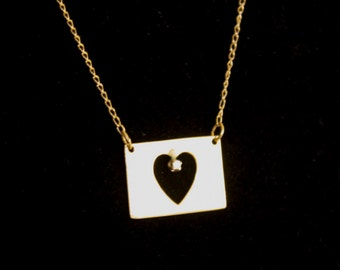 Gold Die Cut Heart Necklace, Gold plated