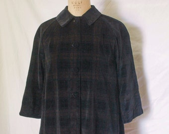 Midnight Navy Plaid Velvet Children's Swing Coat