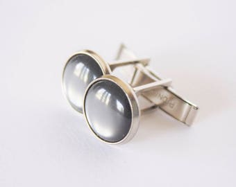 Vintage Pioneer Grey Lucite Cuff links