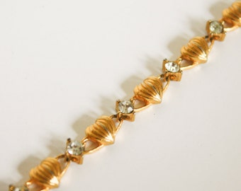 Gold Avon Bracelet with Hearts and Rhinestones