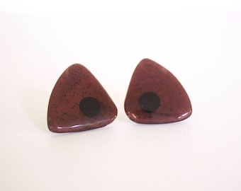 Eggplant Triangle Earrings, Pierced