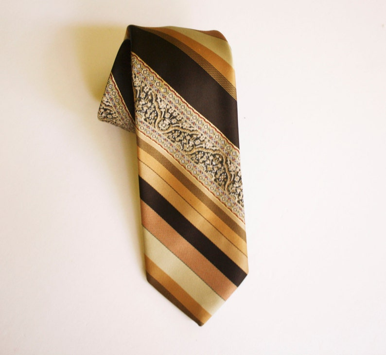 Chocolate and Sun Tanned Diagonal Striped Tie