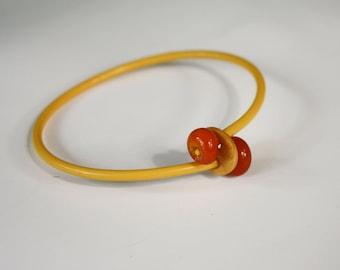 Bangle Bracelet with Lampwork Beads