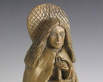 St. Brigid: Patron of Ireland, Students & Saint for House-Blessing; Handmade Statue