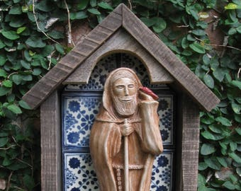 Handmade Statue of St. Fiacre, Patron of Gardeners, in Tiled Niche