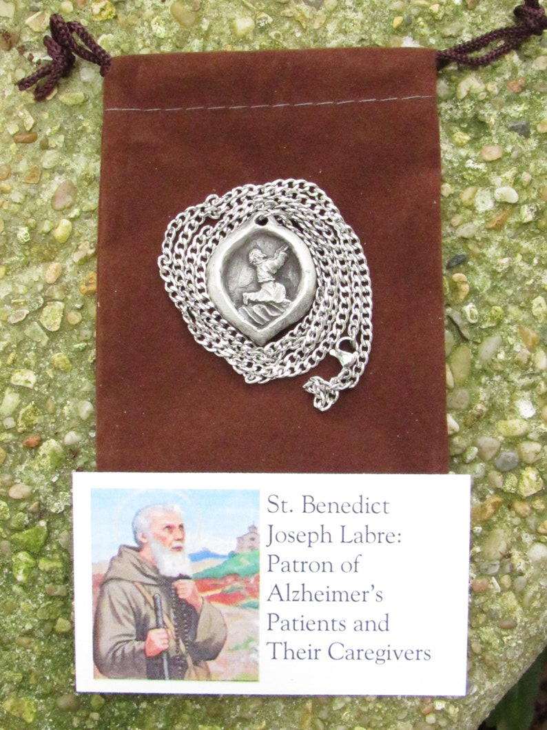 Patron of Alzheimer\u2019s Patients and Their Caregivers Benedict Joseph Labre St Handmade Medal on Chain