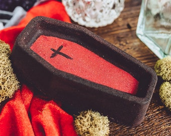 Halloween Bath Bombs, Creepy Cute, Witchy Gifts, Black Bath Bomb, Goth Bath Bomb, Coffin Bath Bomb, Pure Poetry Cosmetics