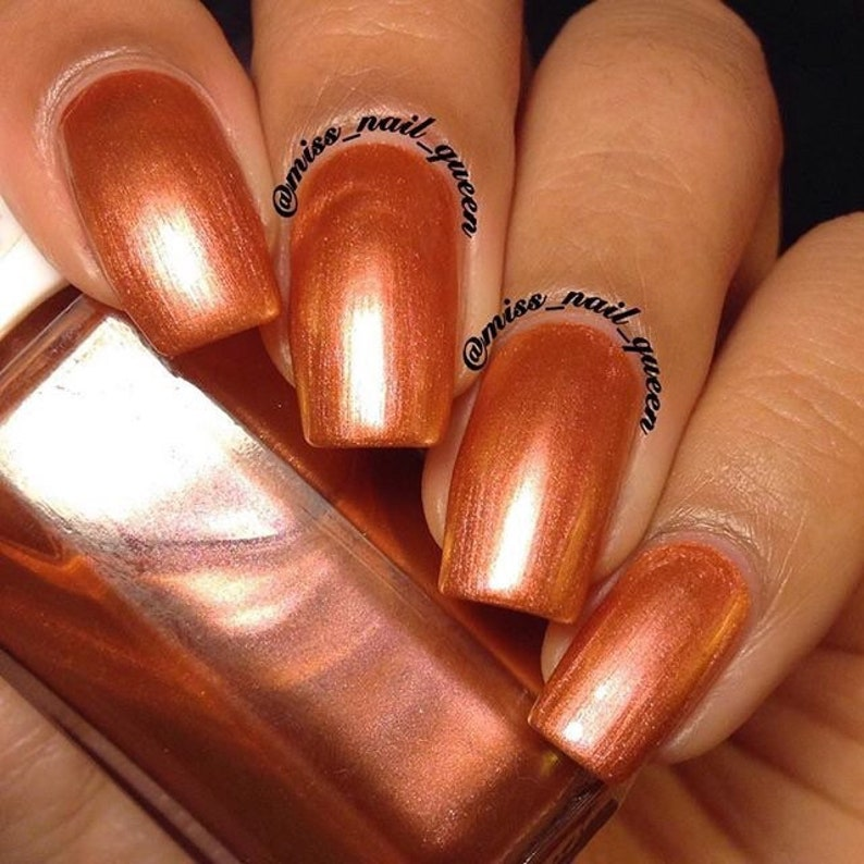 The Night The Day Metallic Nail Polish Copper Pink   Etsy