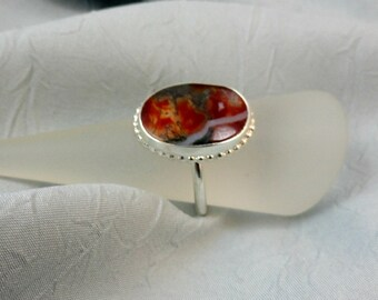 Oval Moss Agate and Sterling Silver Ring